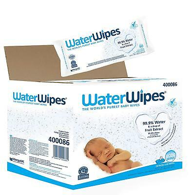 180 Waterwipes Natural Baby Nappy Wipes Chemical Free for Sensitive Skin