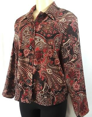 Women's Briggs New York Petite Brown Long Sleeves Button Down Blouse Size L