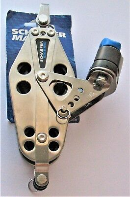 SHAEFER MARINE 505-76 SS FIDDLE BLOCK  w/ADJUSTABLE CAM & BECKET