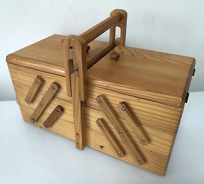 Vintage Mid Century Wooden Small Sewing Storage Box Cantilever 3 Tiered