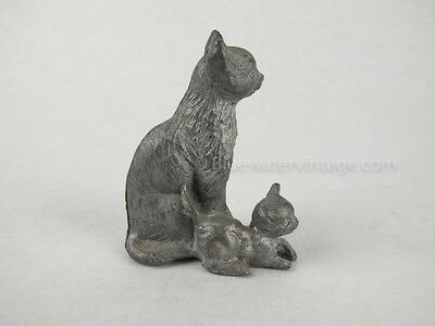 Vintage collectible cast pewter cat & kitten figure, signed! PF9