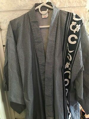 Japanese Men's 100% Cotton  Robe/Kimono Made in Japan