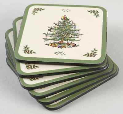 Spode CHRISTMAS TREE Set Of 6 Square Corkback Coasters (Pimpernel) 8382835