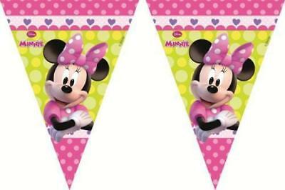 Disney Minnie Mouse Triangle Flag Bunting Kids Birthday Party Tableware 9 Flags