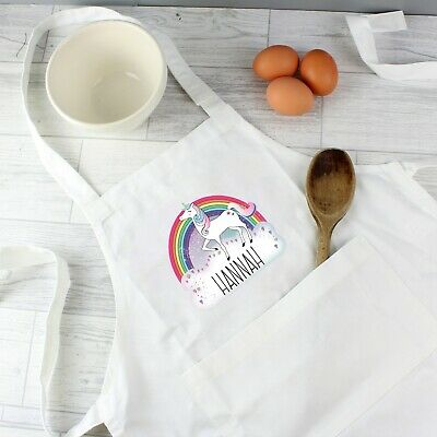 Personalised Kids Apron Unicorn White Kitchen Childerns Christmas Gift