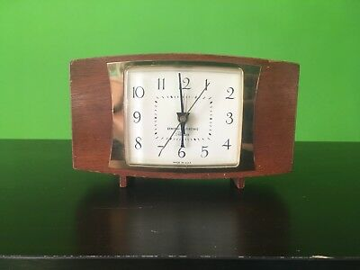 Vintage GE General Electric USA Telechron Wooden Corded Alarm Clock 7H249 Works