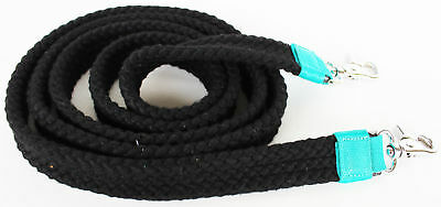 Pro Cotton Poly Horse Roping Western Barrel Reins Braided Black Turquoise 607110
