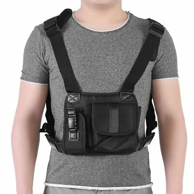 Portable Chest Pack Bag Harness Two Way Radio Carrying Case for Walkie-Talkie