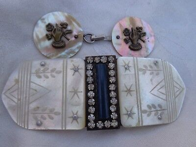 Antique Victorian Mother Of Pearl Paste Lady Hand W/ Flowers Belt Sash Buckle 2
