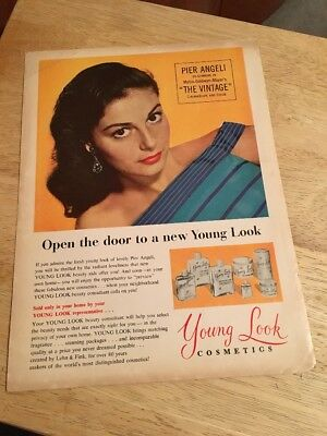 """Vintage 1957 Magazine Ad - PIER ANGELI for YOUNG LOOK COSMETICS - 8"""" x 11"""""""