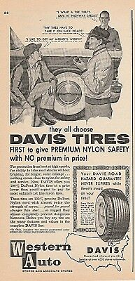 Vintage 1957 ad~ DAVIS TIRES, Western Auto Stores and Associate Stores