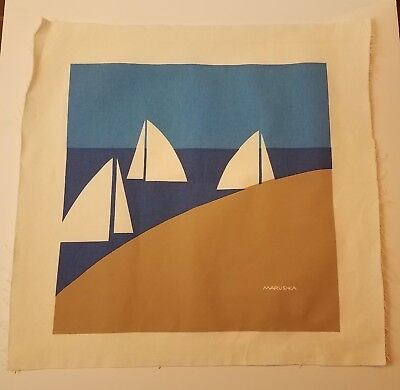 MARUSHKA Sailboat Beach Screen Print Mid Century Modern Pop Art Fabric Unmountd