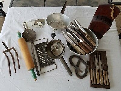 LOT OF Vintage Restaurant Decor KITCHEN AND BARN UTENSILS TOOLS GADGETS