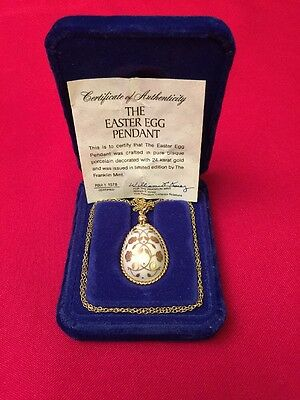 Franklin Mint EASTER EGG PENDANT NECKLACE Bisque Porcelain Decorated 24k 1978