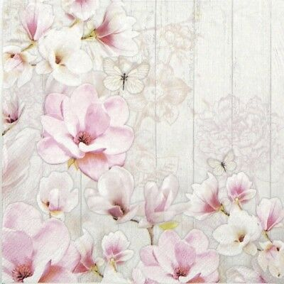 4x Paper Napkins for Party, Decoupage Craft Magnolia Garden