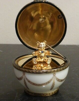 Faberge Limoges France Little Teddy Bear With Rhinestones Surprise Egg