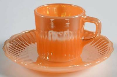 Anchor Hocking PEACH LUSTRE ROYAL Demitasse Cup & Saucer 2324627