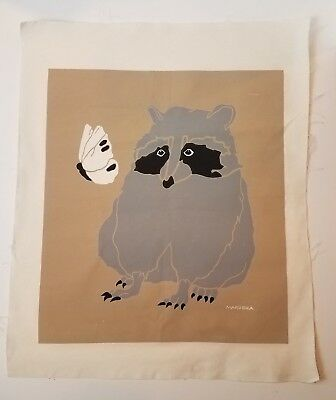 MARUSHKA Raccoon Butterfly Screen Print Mid Century Mod Pop Art Fabric Unmntd