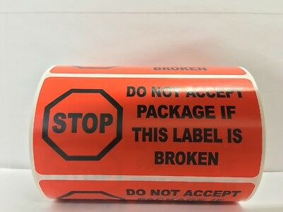 """Red STOP DO NOT ACCEPT Shipping Special Handling Labels (4"""" x 2"""", 500/Roll)"""
