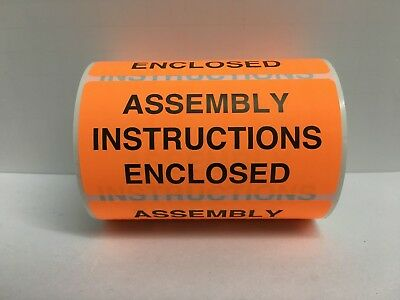 """Orange ASSEMBLY INSTRUCTIONS ENCLOSED Shipping Labels (4"""" x 2"""", 500/Roll)"""