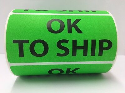 """Green OK TO SHIP Shipping Special Handling Labels (4"""" x 2"""", 10 Rolls-500/Roll)"""