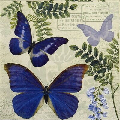 4x Paper Napkins for Party, Decoupage Craft Blue Morpho Butterflies