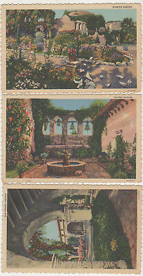 3 Vintage Postcard Mission San Juan Capistrano, The Chapel and Corridor Calif.