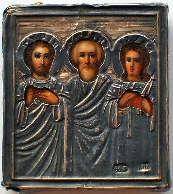 "Beautiful Antique Russian Orthodox Icon ""Gury, Simon, Aviv"" Silver oklad. 19 th"