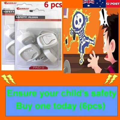 6pc Plastic Baby Child Power Point Cover Board Safety Plugs Protective Outlet AU