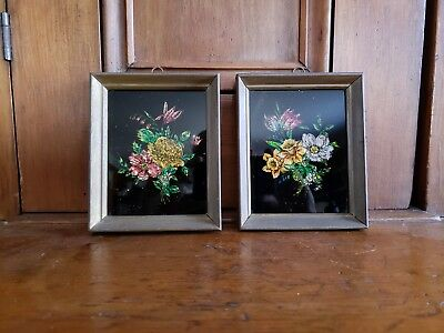 """Two Vintage Tinsel Pictures Under Glass in Original Wood Frames 5 3/4"""" x 4 3/4"""""""
