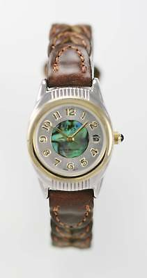 Sierra Club Womans Two Tone Brown Leather Band Water Resistant Quartz Date Watch