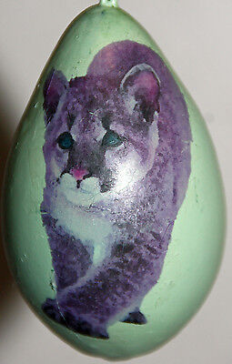 gourd Easter egg or Christmas ornament with mountain lion, cougar, puma
