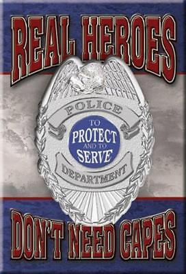 Real Heroes Don't Need Capes Police Department Badge Ice Box Refrigerator Magnet