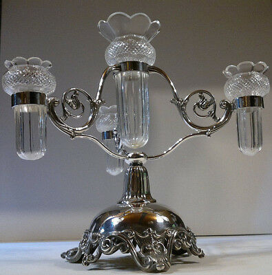 "Antique Victorian Walker & Hall Cut Glass Silver Plated Epergne Bud Vase 11""Tall"