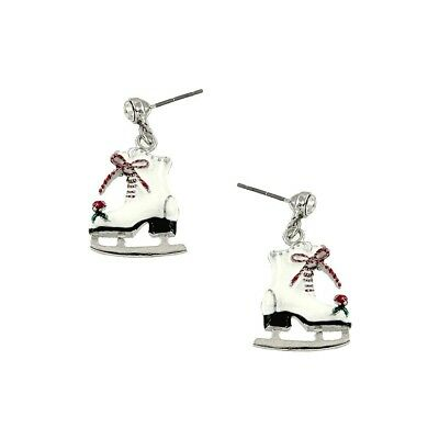 Ice Skate Earrings Winter Skating Shoe Holiday Christmas Jewelry SILVER WHITE