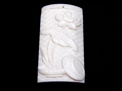 Solid Bone Highly Detailed Hand Carved Pendant Lotus Flower Blossom #12021809