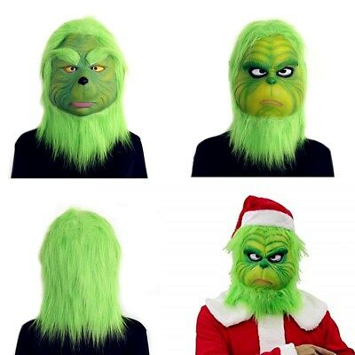 How the Grinch Stole Christmas Full Head Latex Mask Xmas Cosplay Costume Helmet