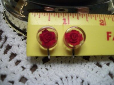 Vintage Reverse Carved  Lucite Rose Earrings Screw Back
