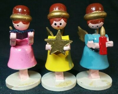 Vintage Hand Carved Hand Painted Wood Bobblehead Angel Christmas Ornaments Japan