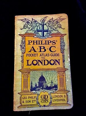 Philips ABC Pocket Atlas Guide to London 12th Revised Edition 1923