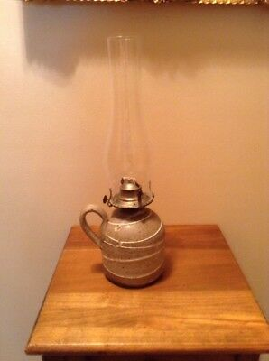 """Handled Jug Style Pottery Oil Lamp With Wick 16"""""""