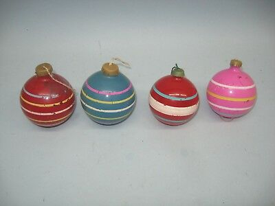 4 vintage unsilvered glass ball shaped ornaments paper cap & opaque paint