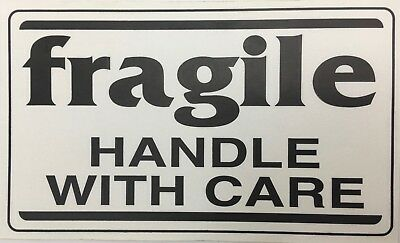 500 Large Labels 3x5 White & Black fragile Handle with Care Shipping Stickers