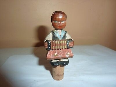 Vintage Hand Carved &painted 6.4Cm Wooden Female Accordion Player Bottle Stopper