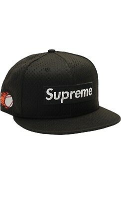 SUPREME NEW ERA Mesh Box Logo Fitted Cap Black Size 7 1 2 S S 2018 ... eee24601a73