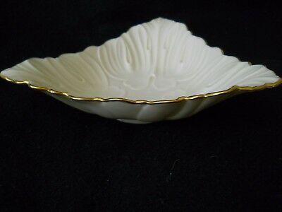 Vintage Lenox Hand Decorated Ivory &  24 Karat Gold Triangular Dish Bowl / USA