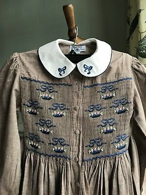 Vintage 1980 French Dress 8 Year Old Excellent Condition.Handmade.Back to school