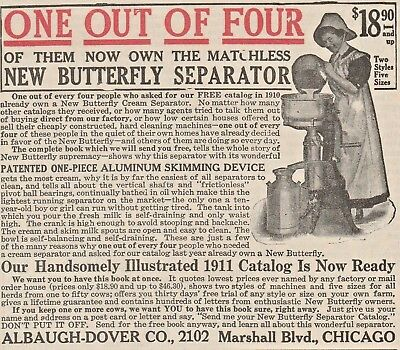 Old 1911 ad~ NEW BUTTERFLY Cream Separator, Albaugh-Dover Co~ Dairy Milk Farm