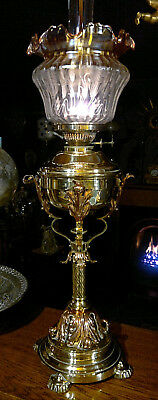 "Victorian Arts & Crafts Copper Brass Duplex Oil Lamp Etched Amber Shade 30""Tall"