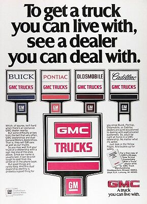 1984 GMC TRUCKS Original Vintage Advertisement ~ A Truck You Can Live With